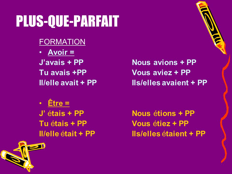 PLUS-QUE-PARFAIT FORMATION Much like the passé composé, you choose a helping verb (avoir or être ) and conjugate it into the imperfect tense + past pa