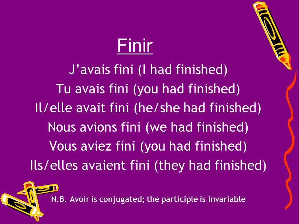 Finir Finir = to finish Past Participle = fini Auxiliary Verb = avoir Conjugate the verb finir in the plus-que-parfait!