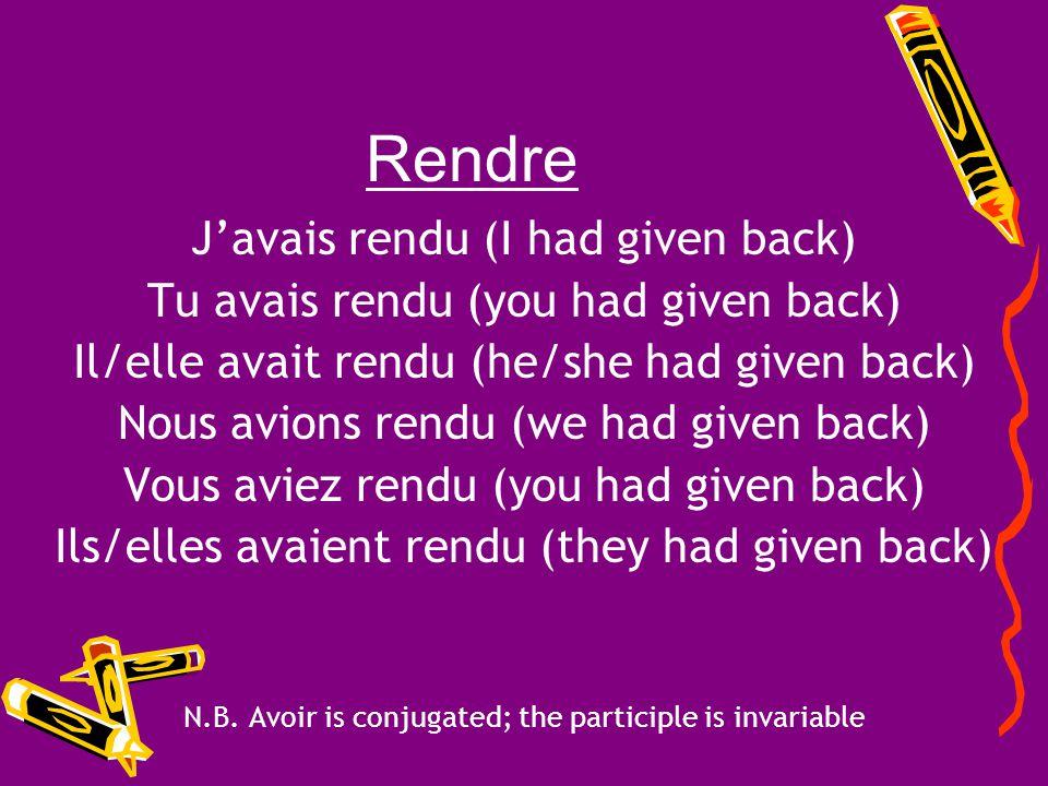 Rendre Rendre = to give back Past Participle = rendu Auxiliary Verb = avoir Conjugate the verb rendre in the plus-que-parfait!