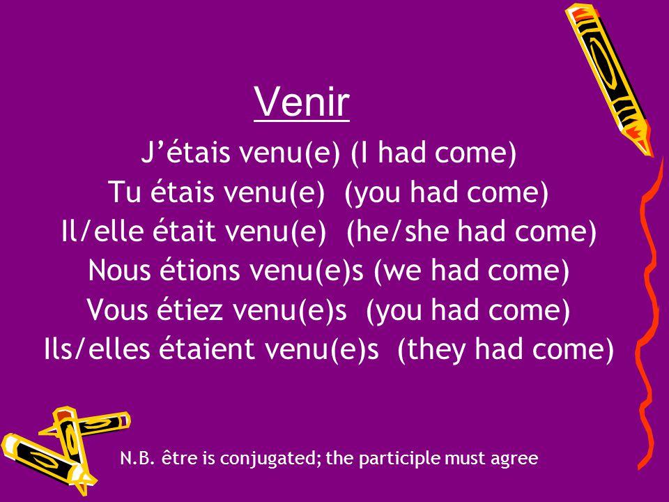 Venir Entre = to come Past Participle = venu Auxiliary Verb = être Conjugate the verb venir in the plus-que-parfait!