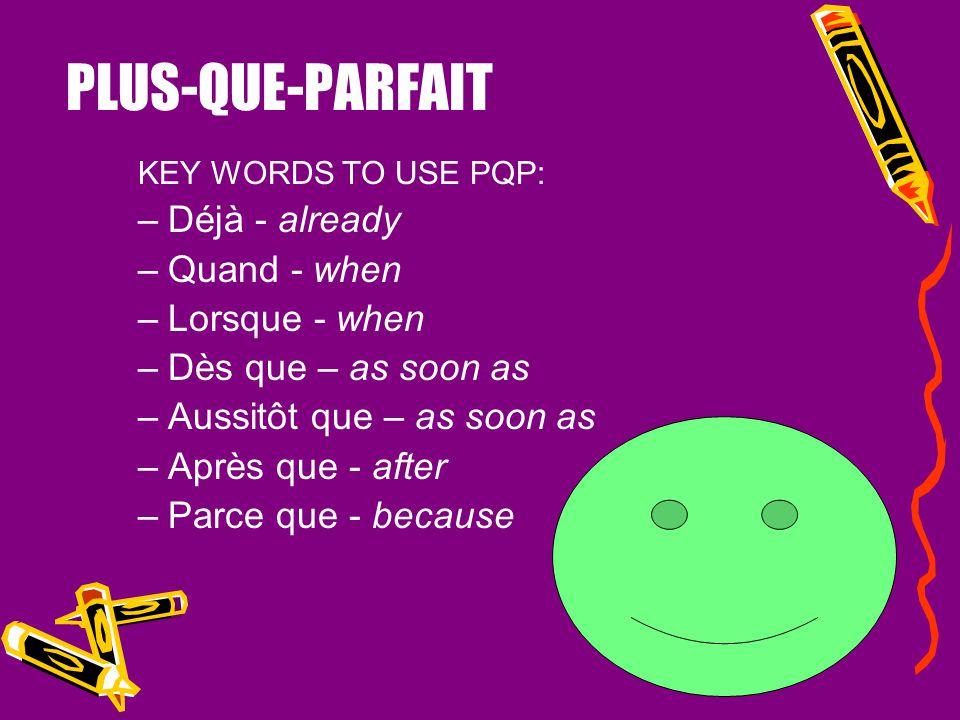 Devoirs Conjugez les verbes suivants au plus- que-parfait: Fermer (je) = ____________ Parler (tu) = ____________ Sortir (il) = ____________ Écrire (no