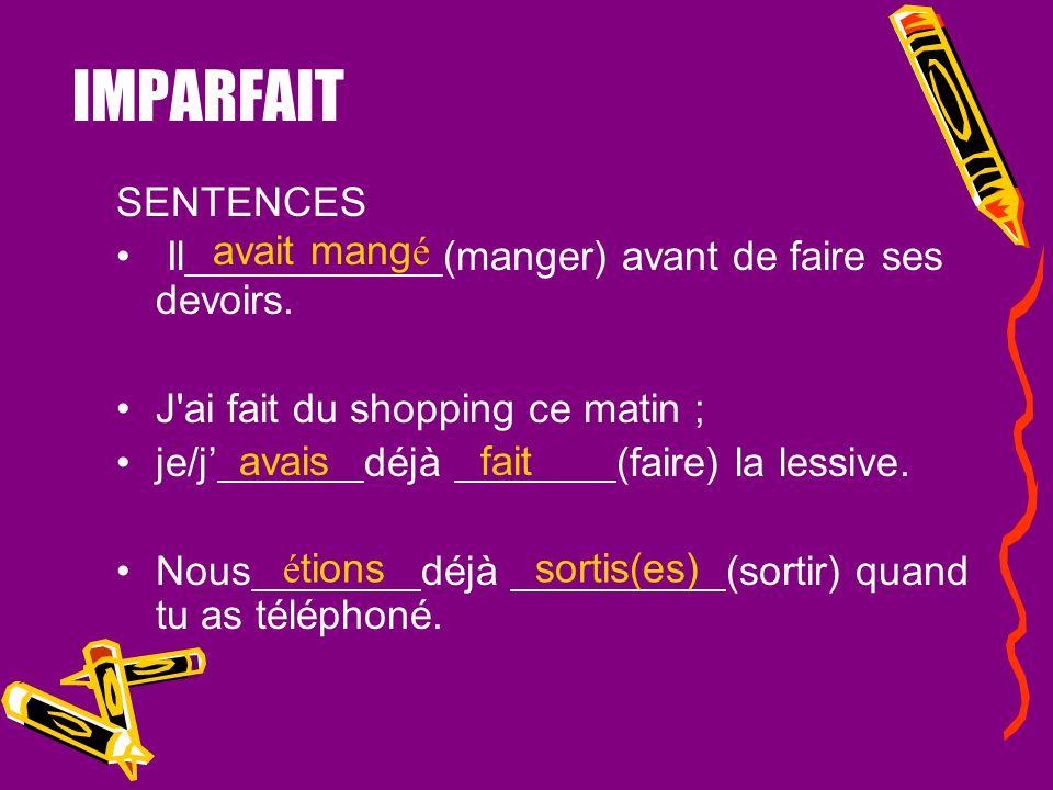 PLUS-QUE-PARFAIT KEY WORDS TO USE PQP: –Déjà - already –Quand - when –Lorsque - when –Dès que – as soon as –Aussitôt que – as soon as –Après que - aft