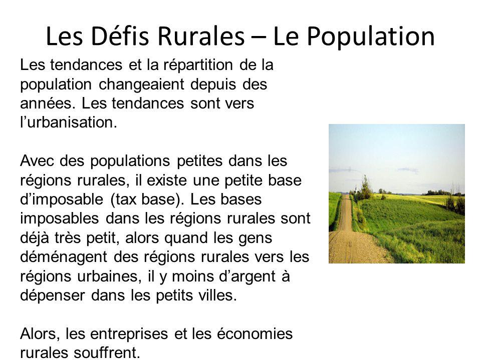 Les Défis Rurales – Le Population Les tendances et la répartition de la population changeaient depuis des années.
