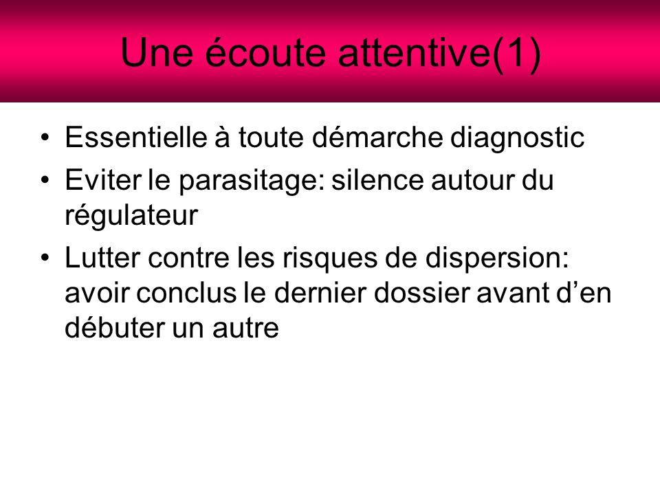 Une écoute attentive(2) Prendre son temps, faire répéter s'il le faut, revenir sur les points importants Temps de réflexion, prendre l'avis d'un autre médecin, interroger le fichier d'aide à la régulation pédiatrique