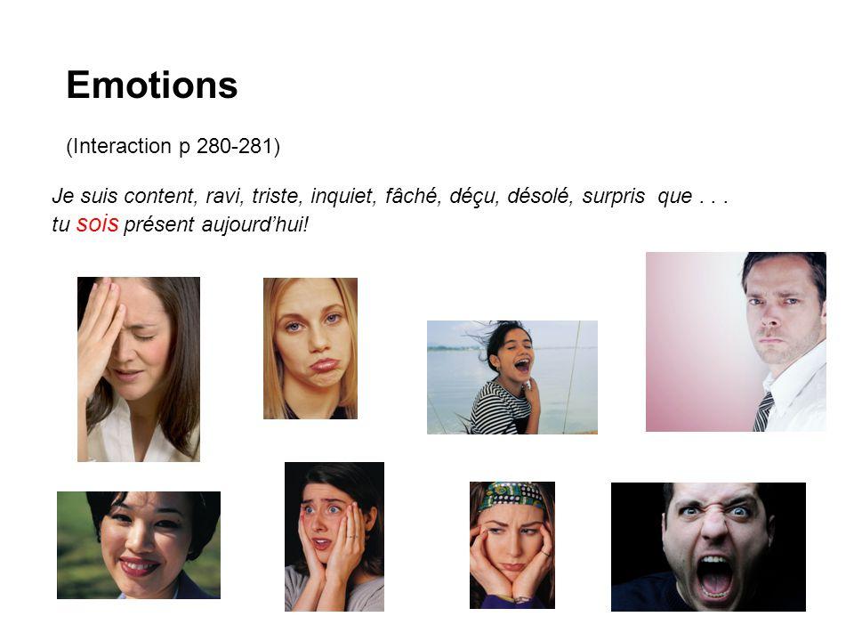 Emotions (Interaction p 280-281) Je suis content, ravi, triste, inquiet, fâché, déçu, désolé, surpris que...