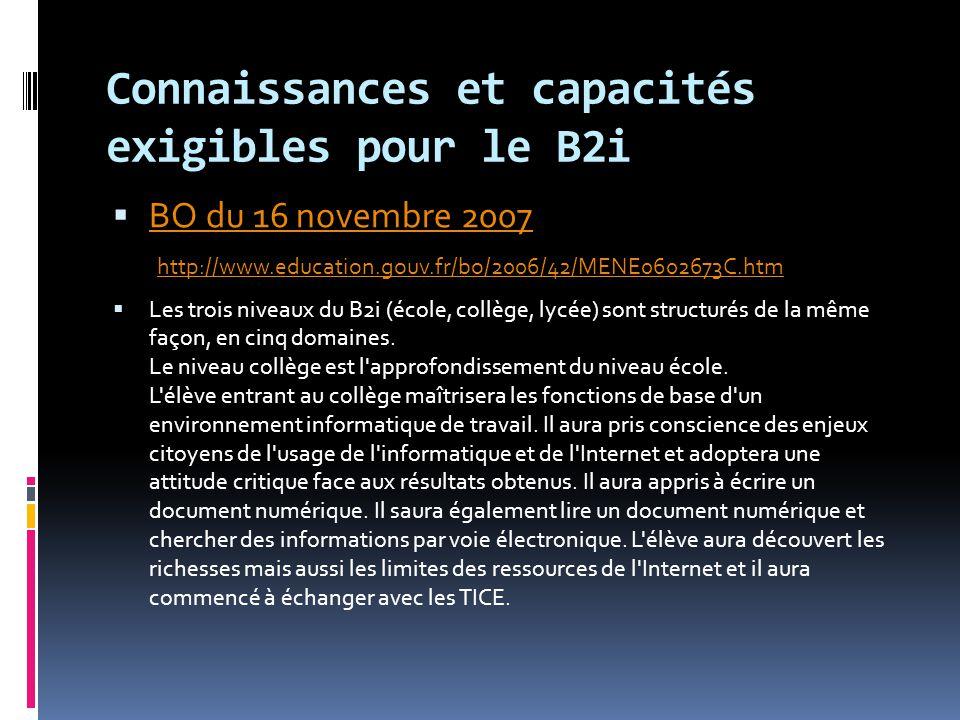 Connaissances et capacités exigibles pour le B2i  BO du 16 novembre 2007 http://www.education.gouv.fr/bo/2006/42/MENE0602673C.htm BO du 16 novembre 2