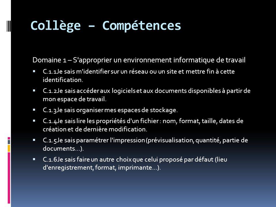 Collège – Compétences Domaine 1 – S'approprier un environnement informatique de travail  C.1.1Je sais m'identifier sur un réseau ou un site et mettre