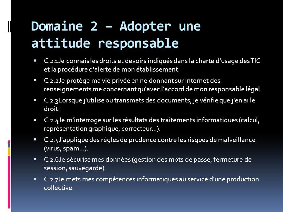 Domaine 2 – Adopter une attitude responsable  C.2.1Je connais les droits et devoirs indiqués dans la charte d'usage des TIC et la procédure d'alerte