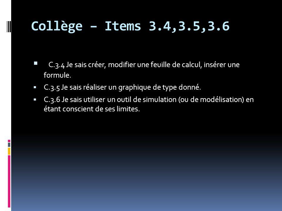 Collège – Items 3.4,3.5,3.6  C.3.4 Je sais créer, modifier une feuille de calcul, insérer une formule.  C.3.5 Je sais réaliser un graphique de type