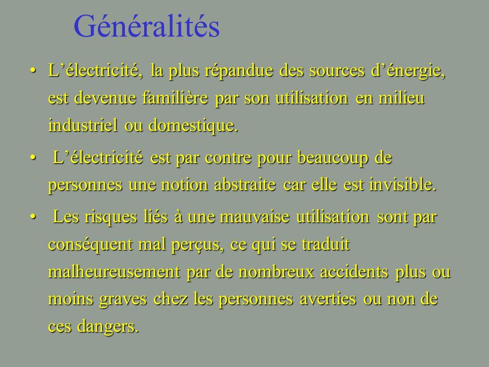 Généralités L'électricité, la plus répandue des sources d'énergie, est devenue familière par son utilisation en milieu industriel ou domestique.L'électricité, la plus répandue des sources d'énergie, est devenue familière par son utilisation en milieu industriel ou domestique.