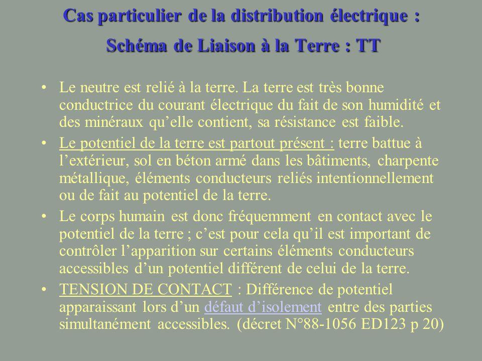Cas particulier de la distribution électrique : Schéma de Liaison à la Terre : TT Le neutre est relié à la terre.