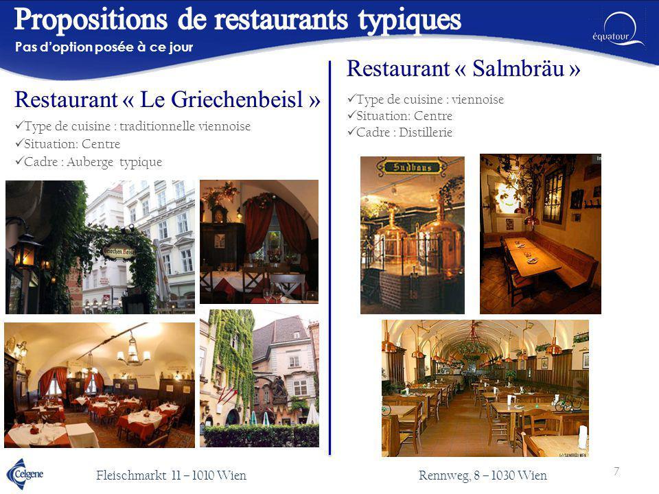 Type de cuisine : traditionnelle viennoise Situation: Centre Cadre : Auberge typique Pas d'option posée à ce jour Type de cuisine : viennoise Situatio