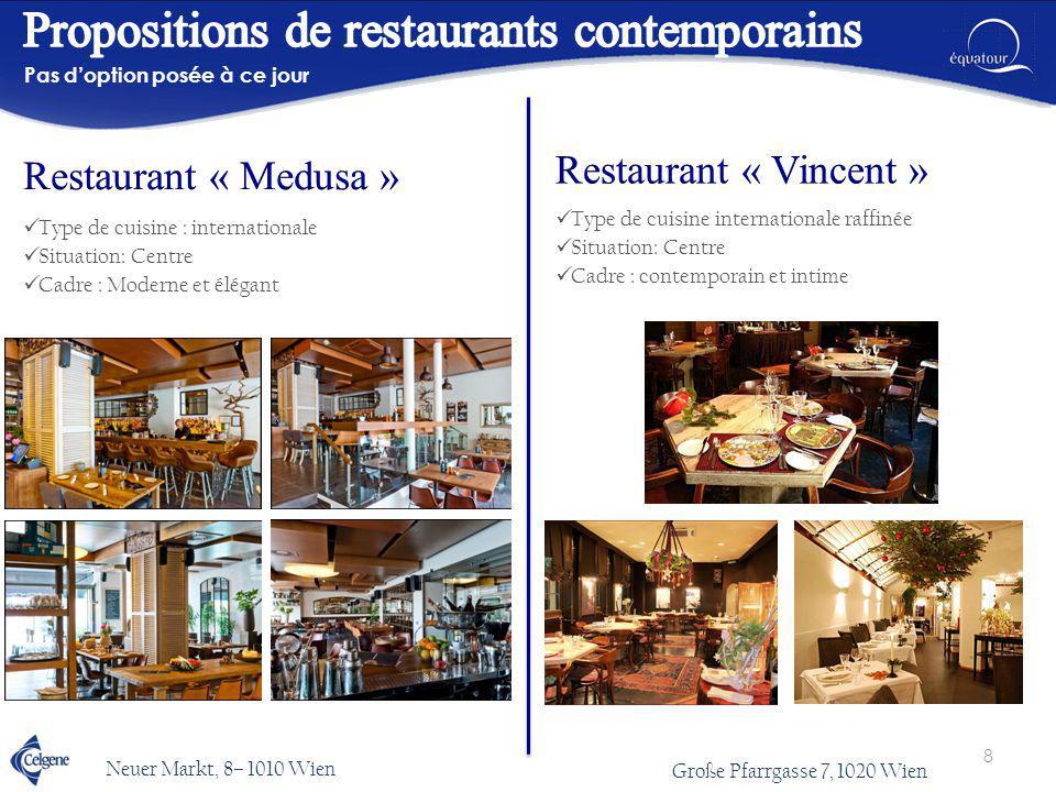 Type de cuisine : internationale Situation: Centre Cadre : Moderne et élégant Pas d'option posée à ce jour Type de cuisine internationale raffinée Sit