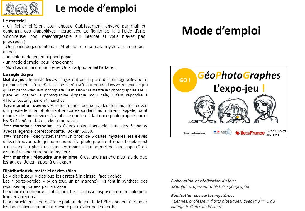 Mode d'emploi Le matériel - un fichier différent pour chaque établissement, envoyé par mail et contenant des diapositives interactives.
