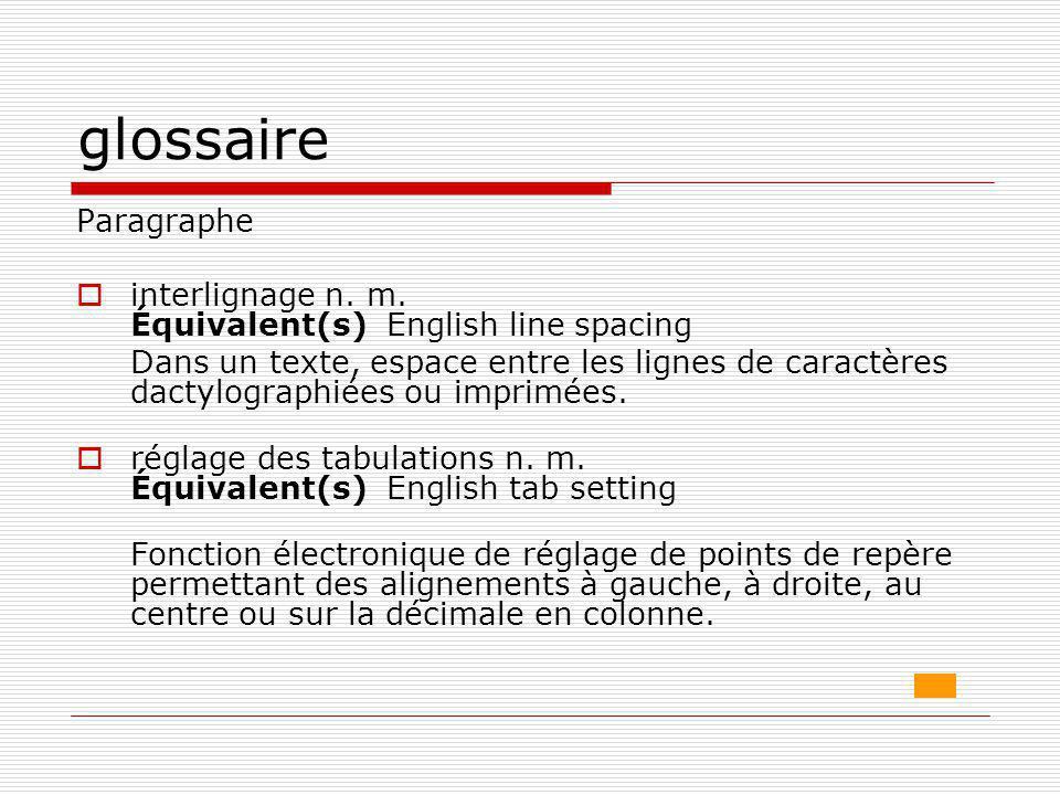 glossaire Paragraphe  interlignage n. m. Équivalent(s) English line spacing Dans un texte, espace entre les lignes de caractères dactylographiées ou