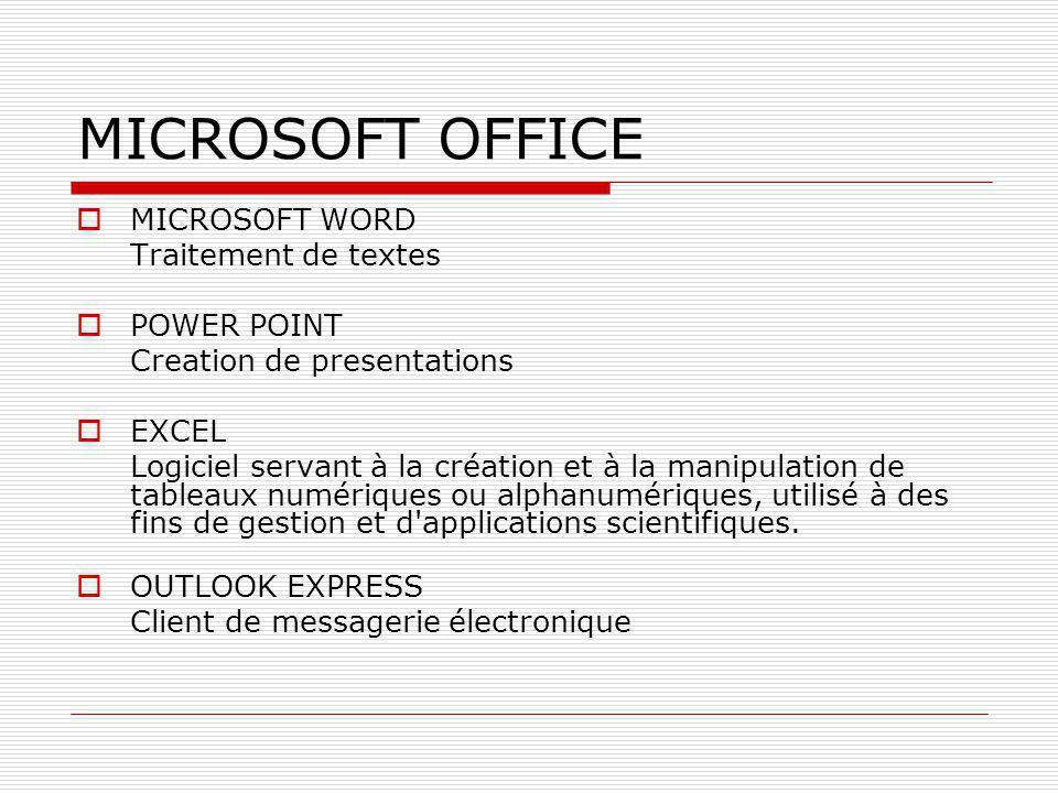 MICROSOFT OFFICE  MICROSOFT WORD Traitement de textes  POWER POINT Creation de presentations  EXCEL Logiciel servant à la création et à la manipula