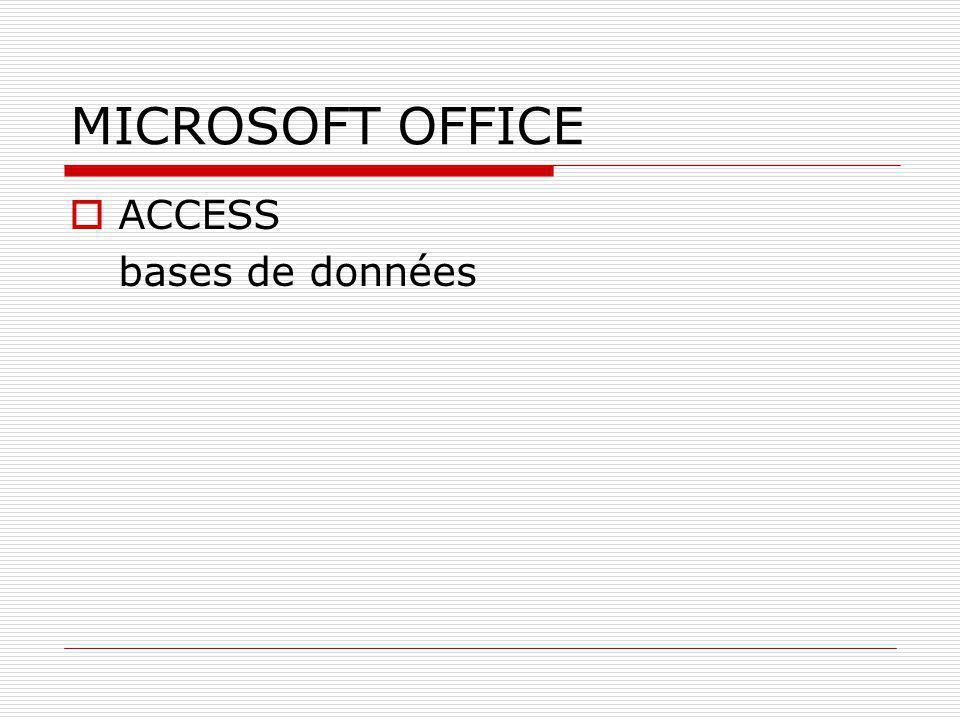 MICROSOFT OFFICE  ACCESS bases de données