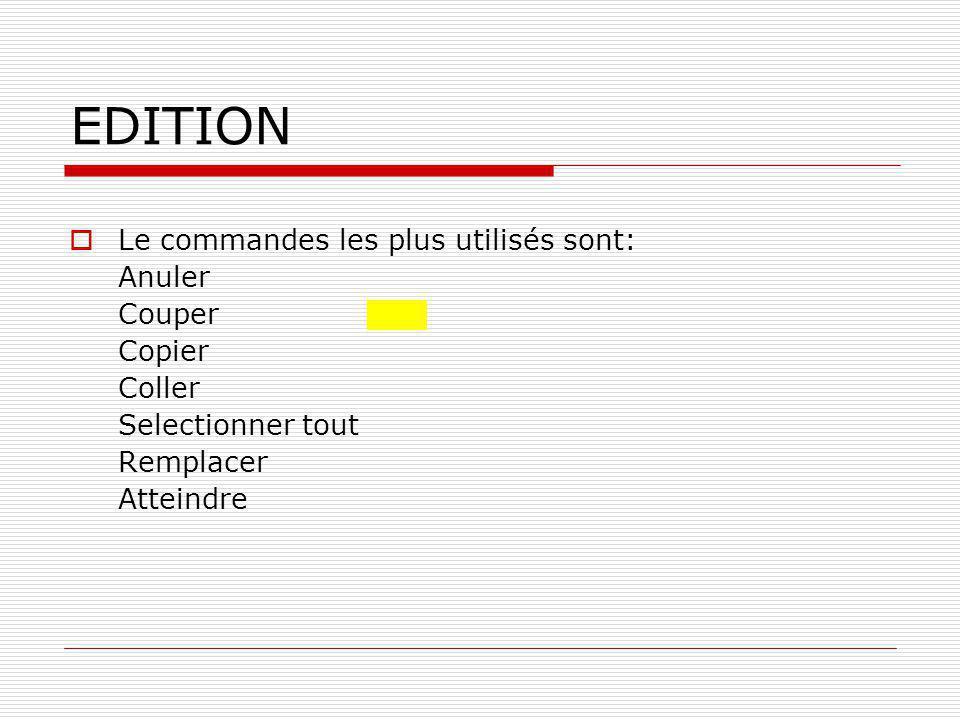 INSERTION  Ce bouton est utilisé pour l'affichage du texte on l'utilise lorsque l'edition est terminée pour le preparer dans la version qui sera imprimée.affichage  Les commandes les plus utilisés sont: