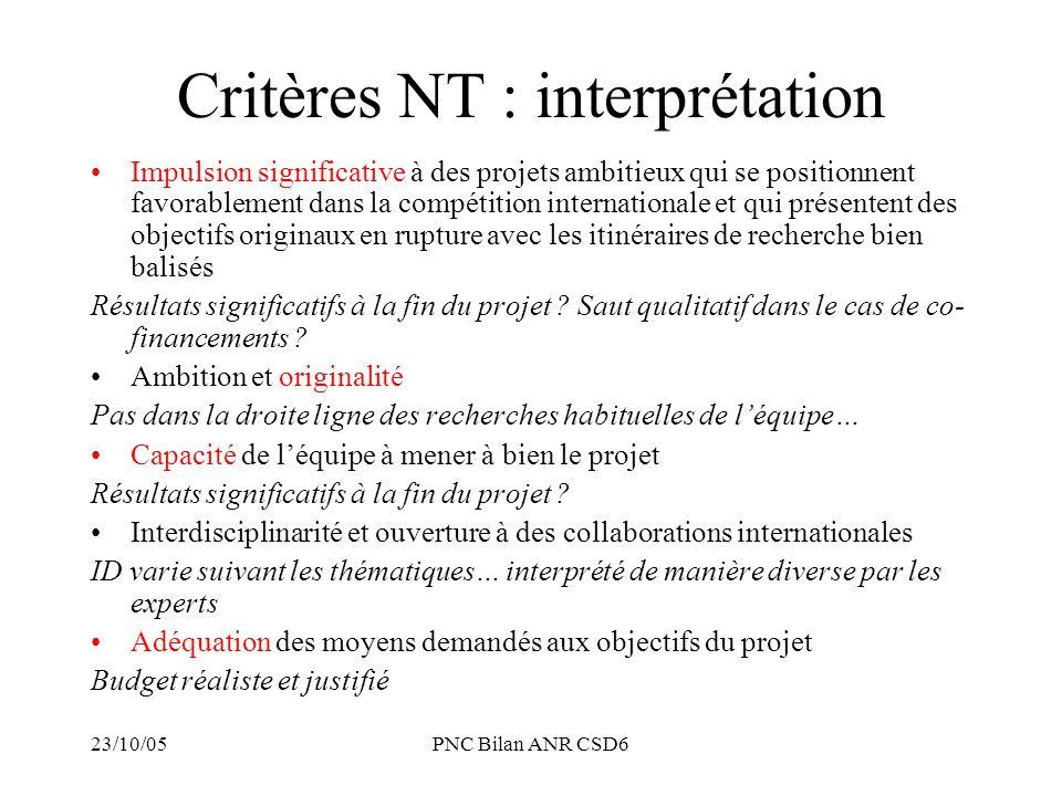 23/10/05PNC Bilan ANR CSD6 Critères NT : interprétation Impulsion significative à des projets ambitieux qui se positionnent favorablement dans la comp