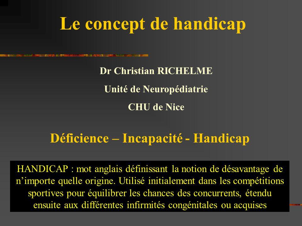 Le concept de handicap Dr Christian RICHELME Unité de Neuropédiatrie CHU de Nice Déficience – Incapacité - Handicap HANDICAP : mot anglais définissant