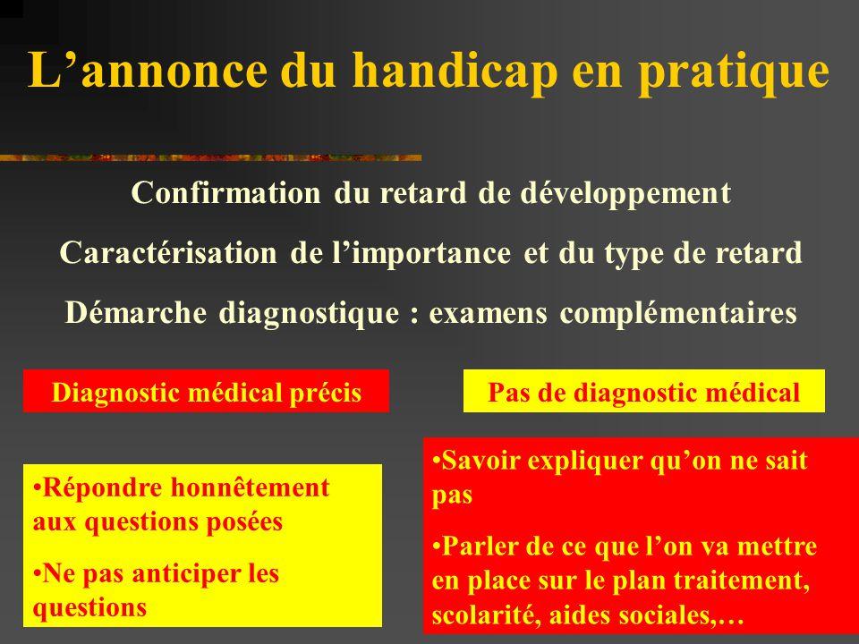 L'annonce du handicap en pratique Confirmation du retard de développement Caractérisation de l'importance et du type de retard Démarche diagnostique :