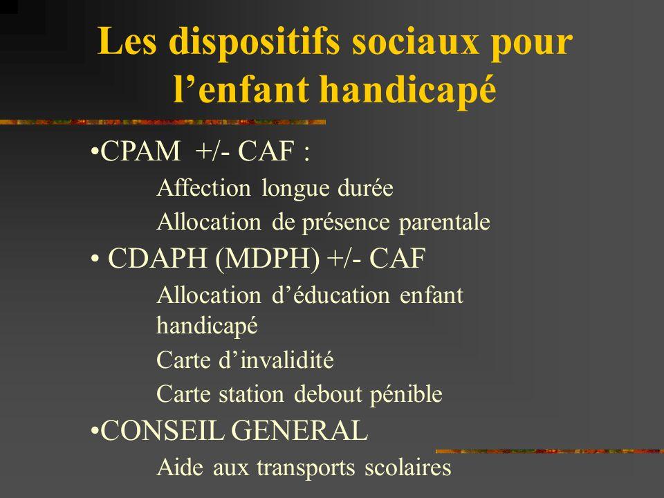 Les dispositifs sociaux pour l'enfant handicapé CPAM +/- CAF : Affection longue durée Allocation de présence parentale CDAPH (MDPH) +/- CAF Allocation