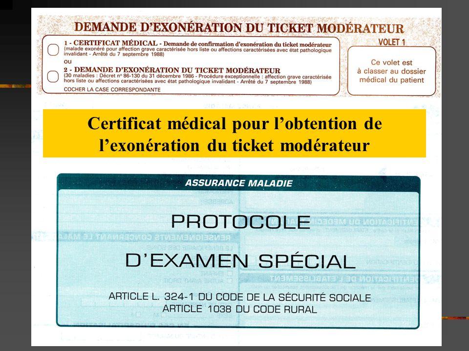 Certificat médical pour l'obtention de l'exonération du ticket modérateur
