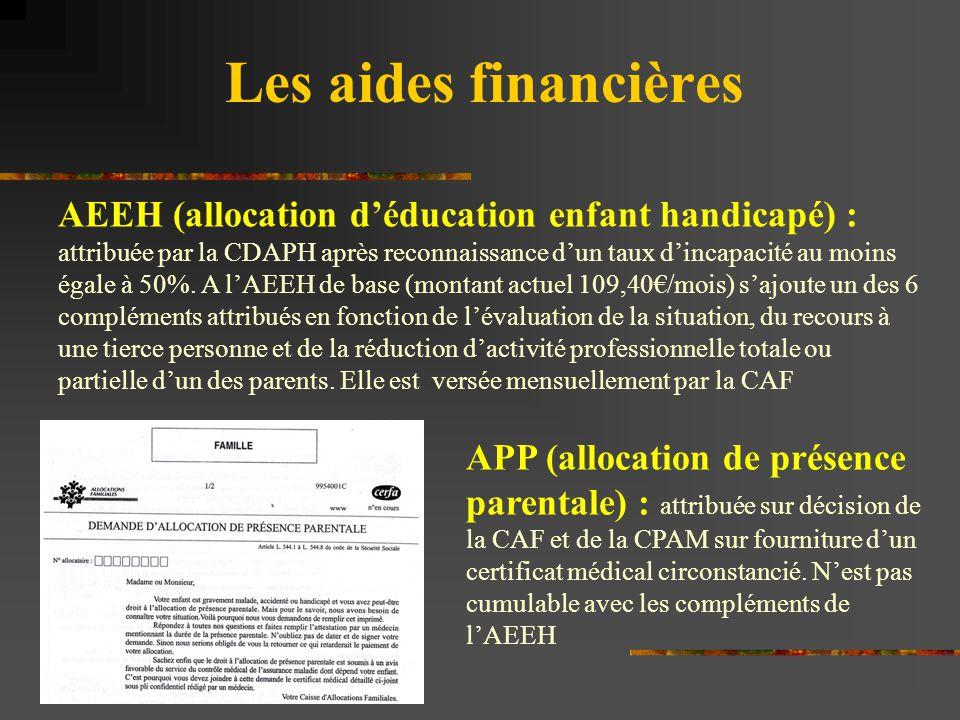 Les aides financières AEEH (allocation d'éducation enfant handicapé) : attribuée par la CDAPH après reconnaissance d'un taux d'incapacité au moins éga