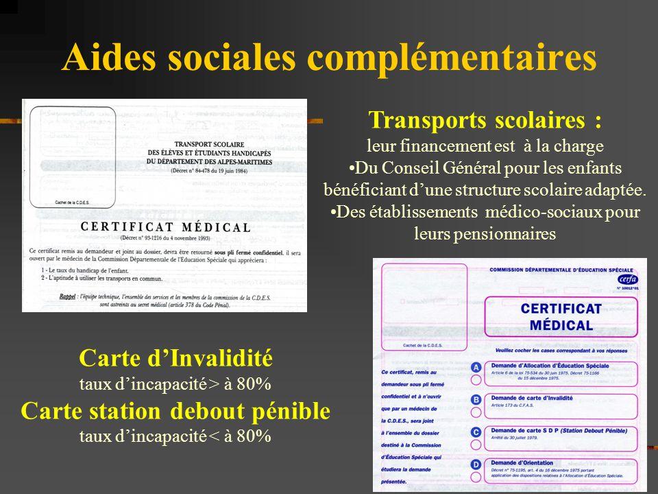Aides sociales complémentaires Transports scolaires : leur financement est à la charge Du Conseil Général pour les enfants bénéficiant d'une structure