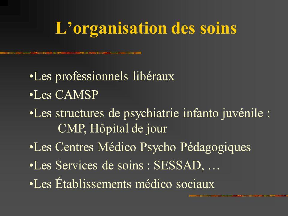 L'organisation des soins Les professionnels libéraux Les CAMSP Les structures de psychiatrie infanto juvénile : CMP, Hôpital de jour Les Centres Médic