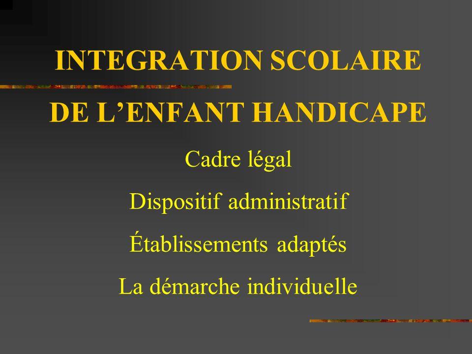 INTEGRATION SCOLAIRE DE L'ENFANT HANDICAPE Cadre légal Dispositif administratif Établissements adaptés La démarche individuelle