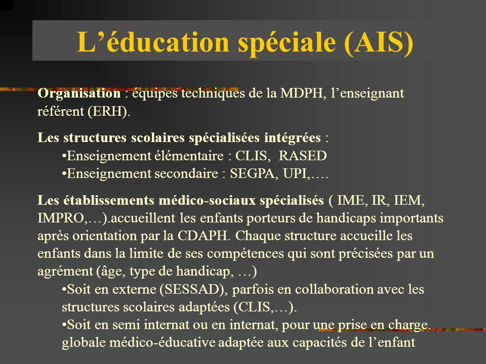 L'éducation spéciale (AIS) Organisation : équipes techniques de la MDPH, l'enseignant référent (ERH). Les structures scolaires spécialisées intégrées
