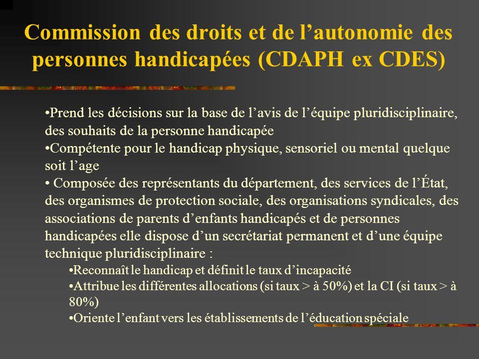 Commission des droits et de l'autonomie des personnes handicapées (CDAPH ex CDES) Prend les décisions sur la base de l'avis de l'équipe pluridisciplin