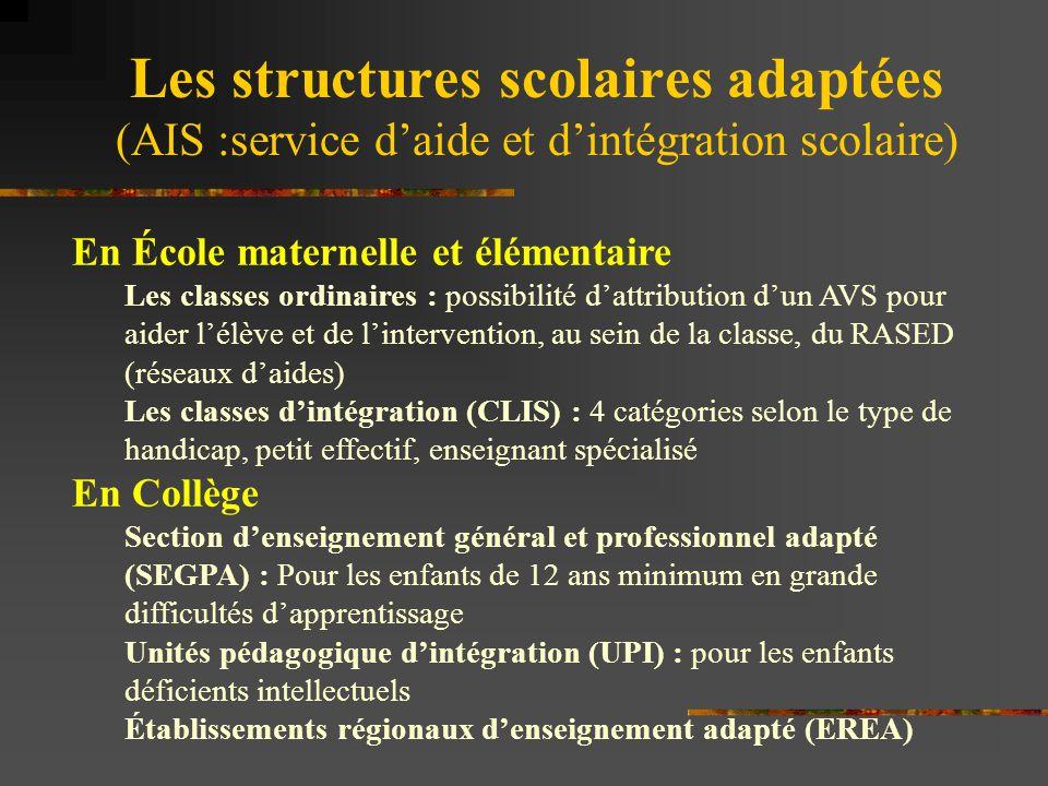 Les structures scolaires adaptées (AIS :service d'aide et d'intégration scolaire) En École maternelle et élémentaire Les classes ordinaires : possibil