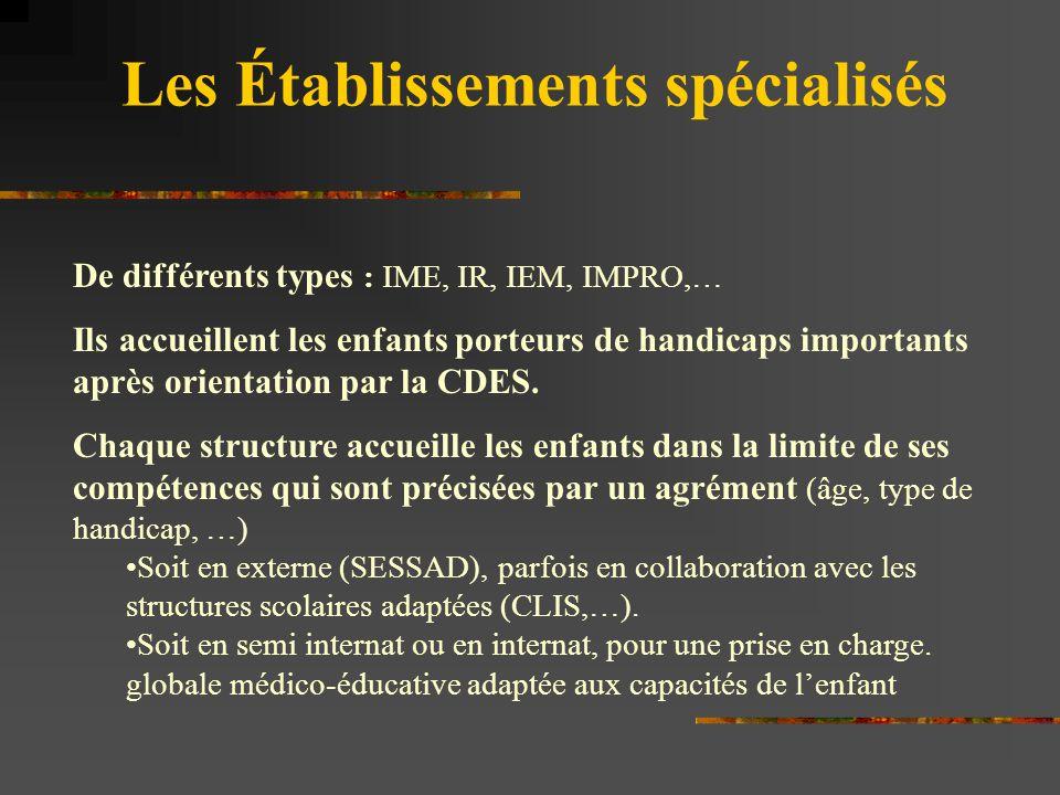 Les Établissements spécialisés De différents types : IME, IR, IEM, IMPRO,… Ils accueillent les enfants porteurs de handicaps importants après orientat