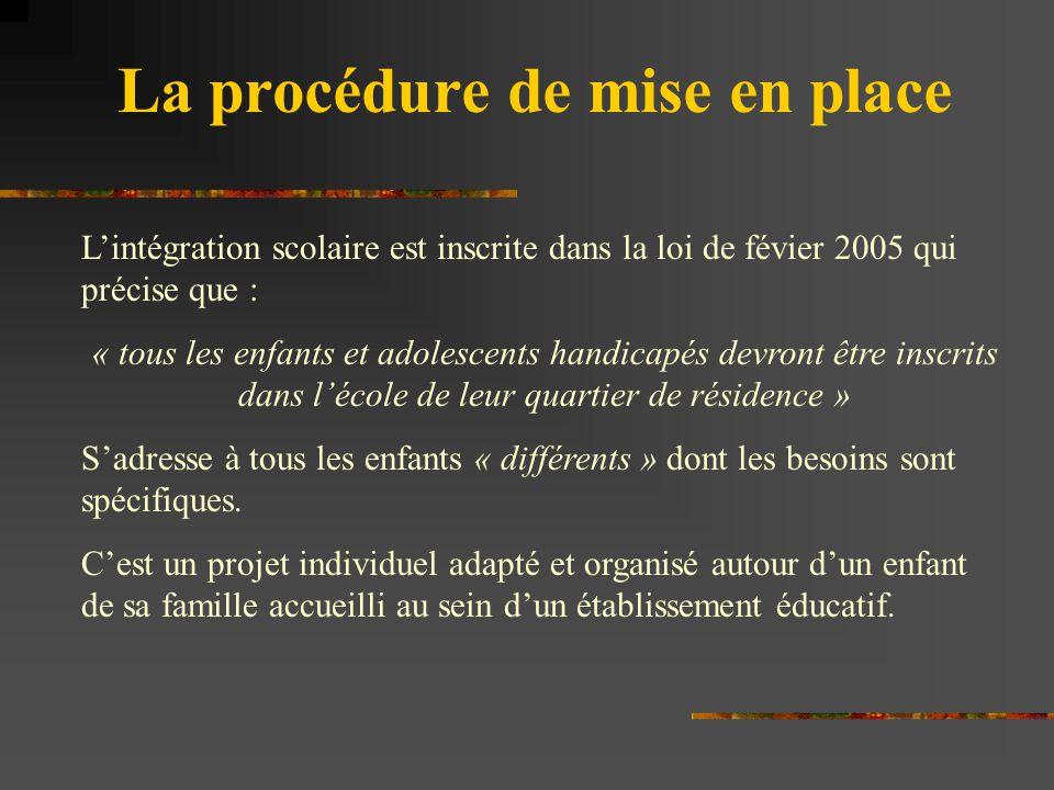 La procédure de mise en place L'intégration scolaire est inscrite dans la loi de févier 2005 qui précise que : « tous les enfants et adolescents handi