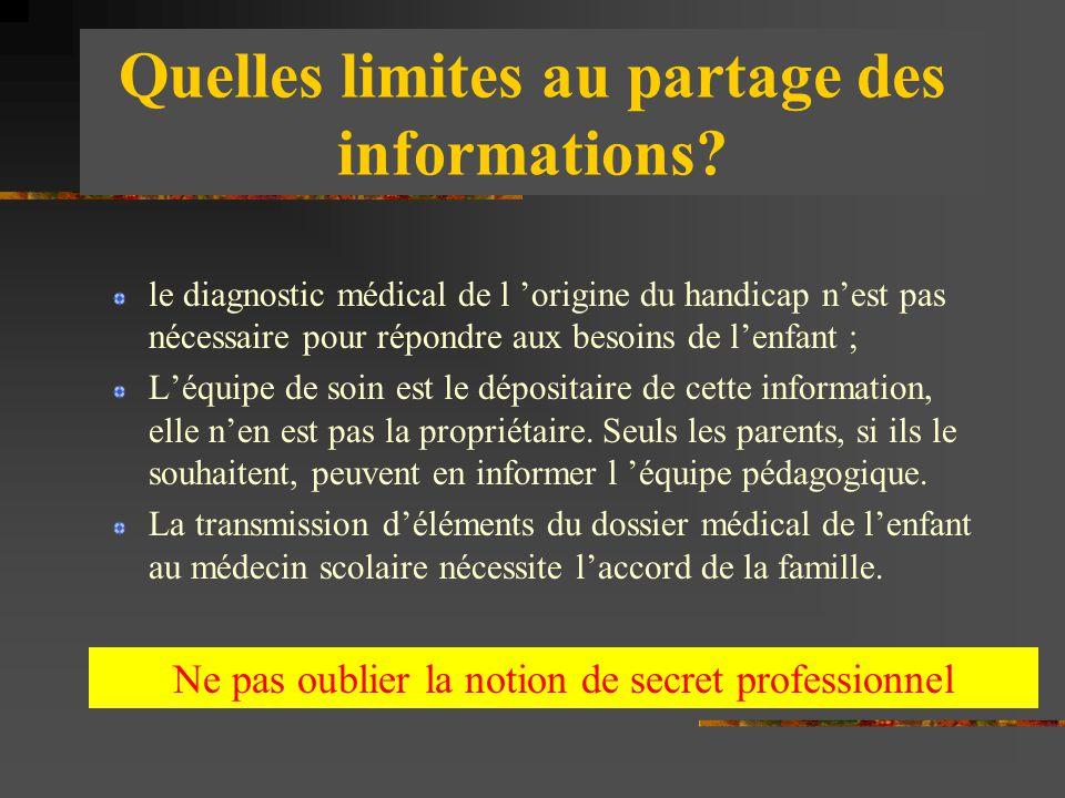 Quelles limites au partage des informations? le diagnostic médical de l 'origine du handicap n'est pas nécessaire pour répondre aux besoins de l'enfan