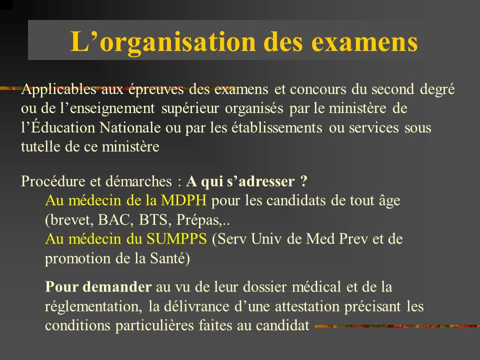 L'organisation des examens Applicables aux épreuves des examens et concours du second degré ou de l'enseignement supérieur organisés par le ministère