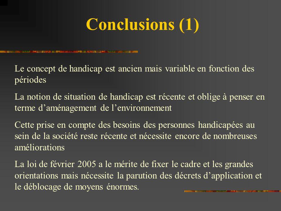 Conclusions (1) Le concept de handicap est ancien mais variable en fonction des périodes La notion de situation de handicap est récente et oblige à pe