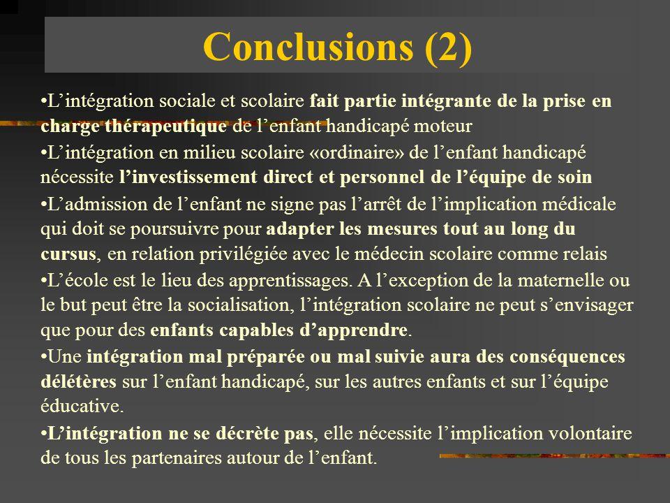 Conclusions (2) L'intégration sociale et scolaire fait partie intégrante de la prise en charge thérapeutique de l'enfant handicapé moteur L'intégratio