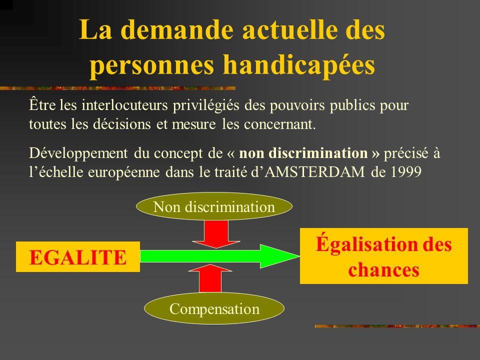 La demande actuelle des personnes handicapées Être les interlocuteurs privilégiés des pouvoirs publics pour toutes les décisions et mesure les concern
