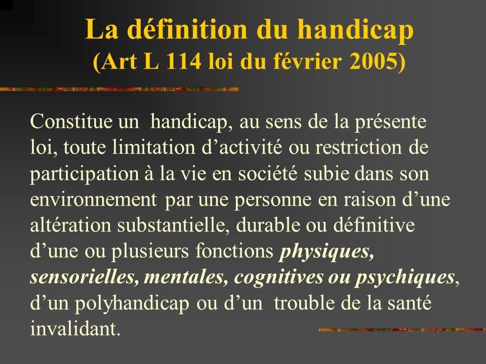 La définition du handicap (Art L 114 loi du février 2005) Constitue un handicap, au sens de la présente loi, toute limitation d'activité ou restrictio