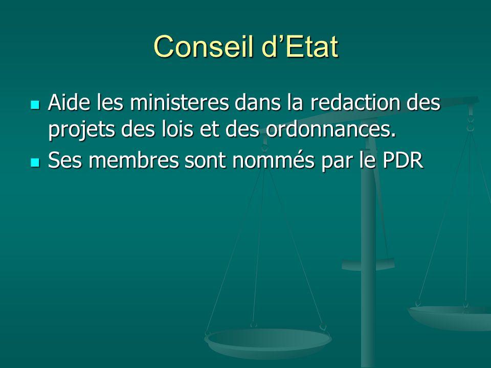 Conseil d'Etat Aide les ministeres dans la redaction des projets des lois et des ordonnances.