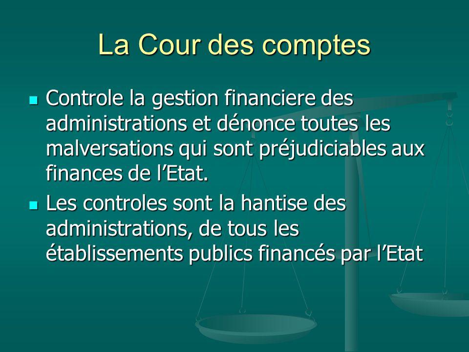 La Cour des comptes Controle la gestion financiere des administrations et dénonce toutes les malversations qui sont préjudiciables aux finances de l'Etat.