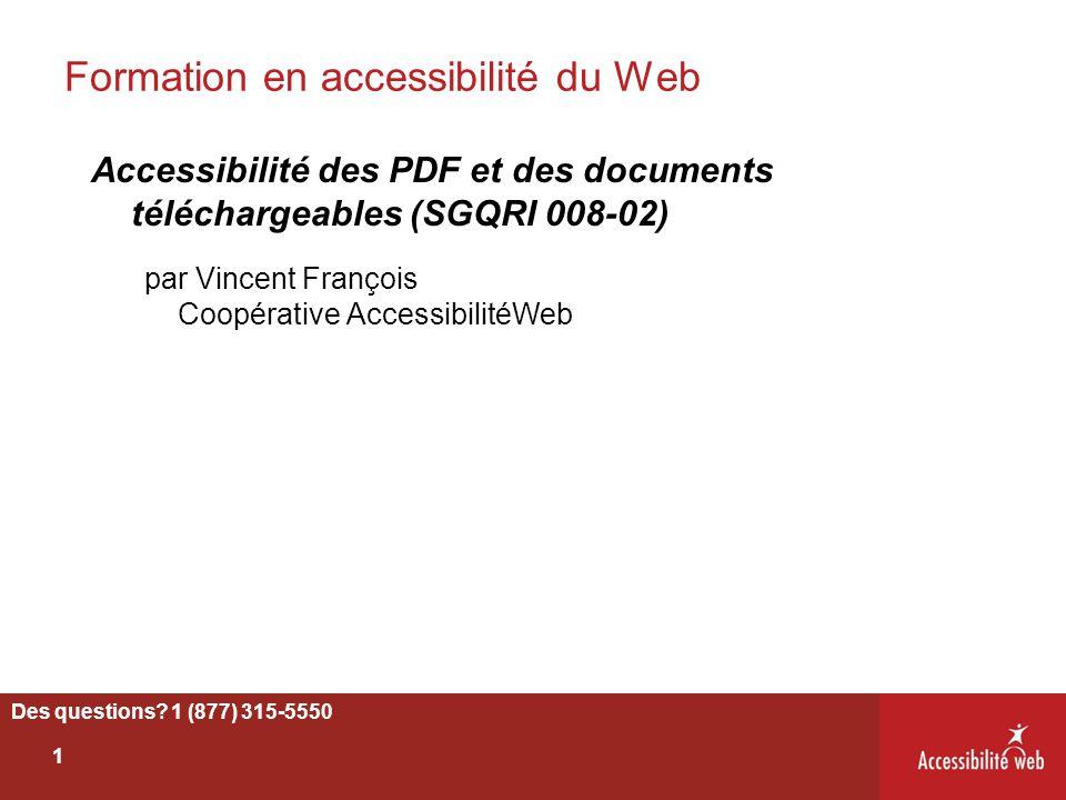 Formation en accessibilité du Web Accessibilité des PDF et des documents téléchargeables (SGQRI 008-02) par Vincent François Coopérative Accessibilité