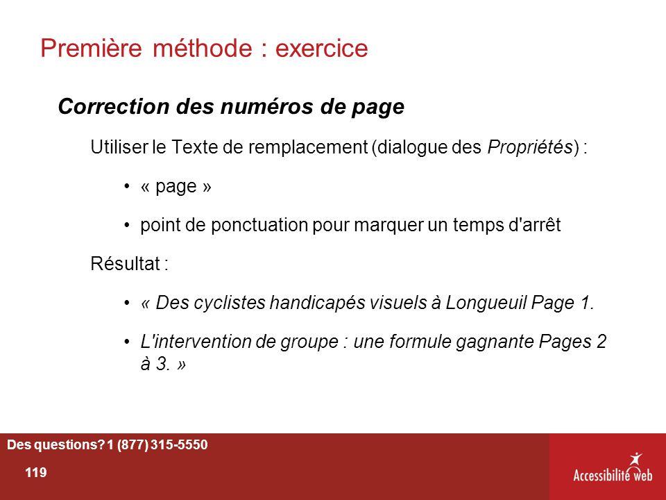 Première méthode : exercice Correction des numéros de page Utiliser le Texte de remplacement (dialogue des Propriétés) : « page » point de ponctuation