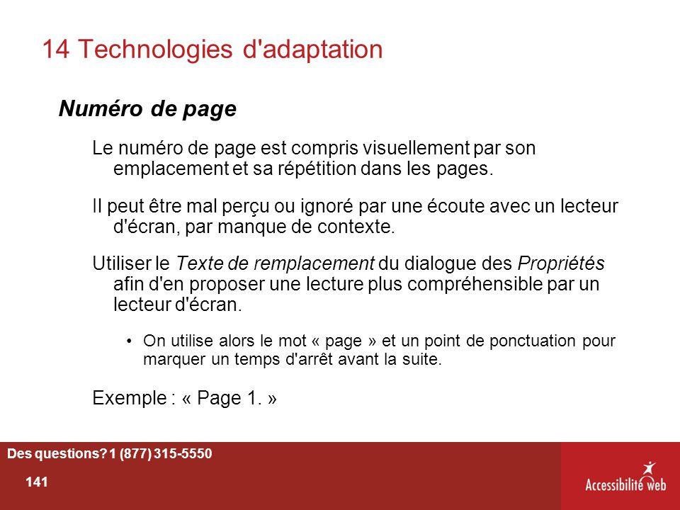 14 Technologies d'adaptation Numéro de page Le numéro de page est compris visuellement par son emplacement et sa répétition dans les pages. Il peut êt
