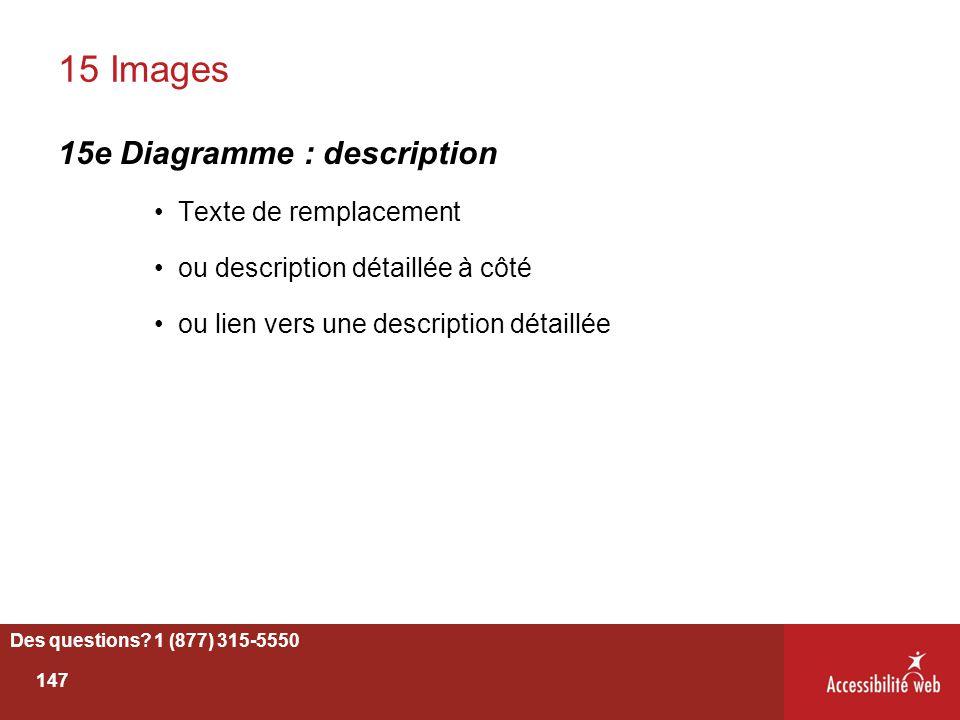 15 Images 15e Diagramme : description Texte de remplacement ou description détaillée à côté ou lien vers une description détaillée Des questions? 1 (8
