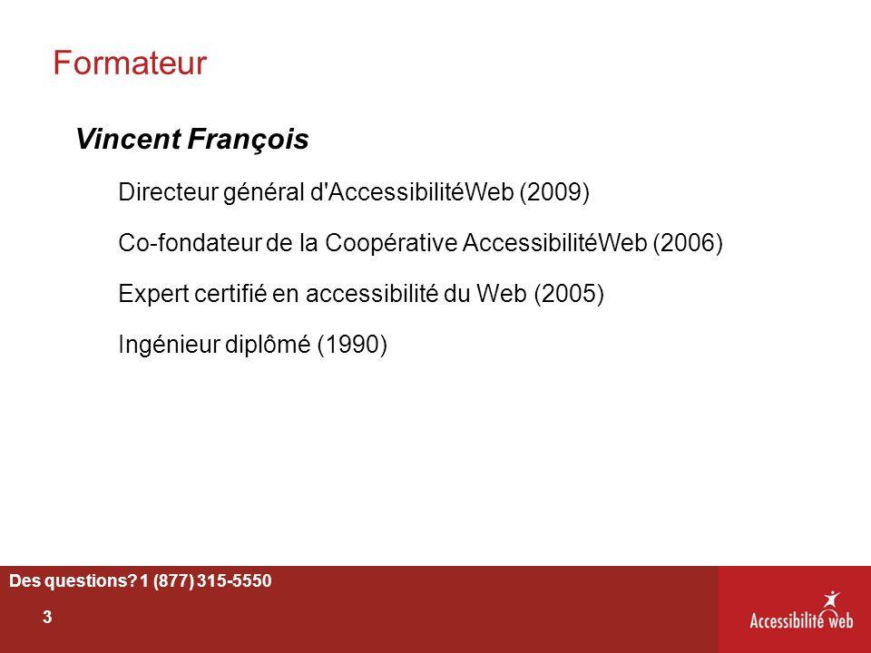 Formateur Vincent François Directeur général d'AccessibilitéWeb (2009) Co-fondateur de la Coopérative AccessibilitéWeb (2006) Expert certifié en acces