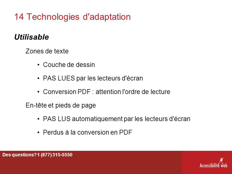 14 Technologies d'adaptation Utilisable Zones de texte Couche de dessin PAS LUES par les lecteurs d'écran Conversion PDF : attention l'ordre de lectur